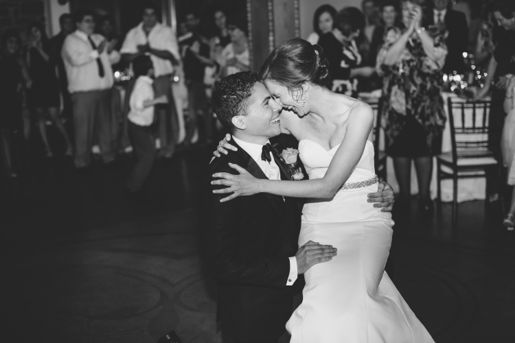 Bride and groom on reception on the dance floor
