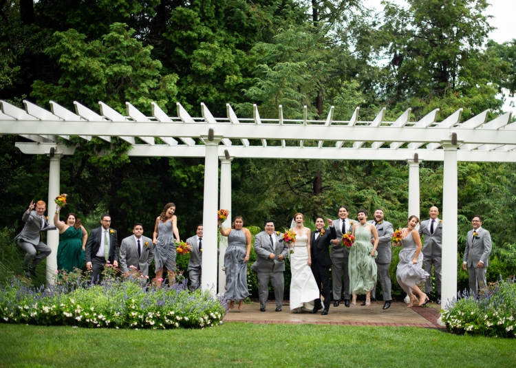 Wedding group all together at wedding venue in Pennsylvania